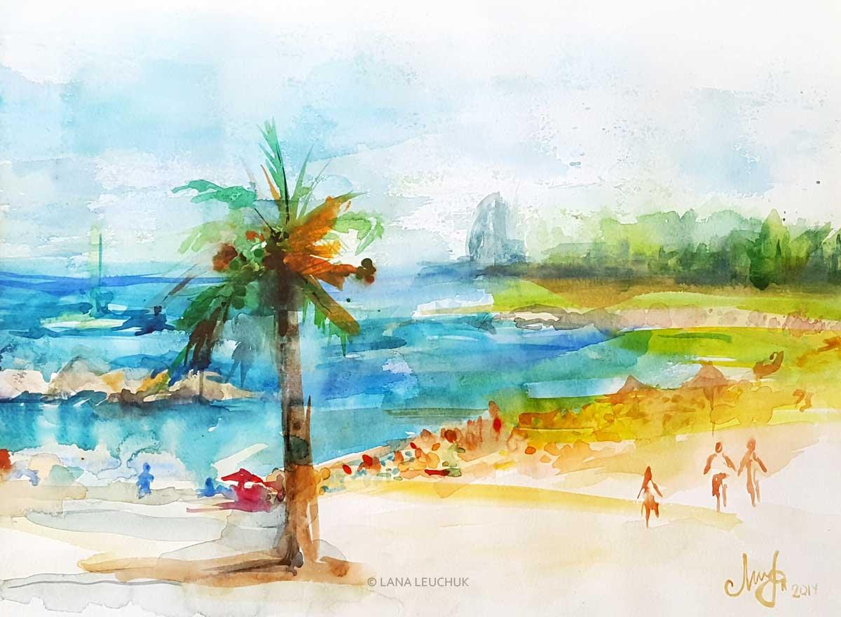 Barceloneta-beach-Lana-Leuchuk-watercolor