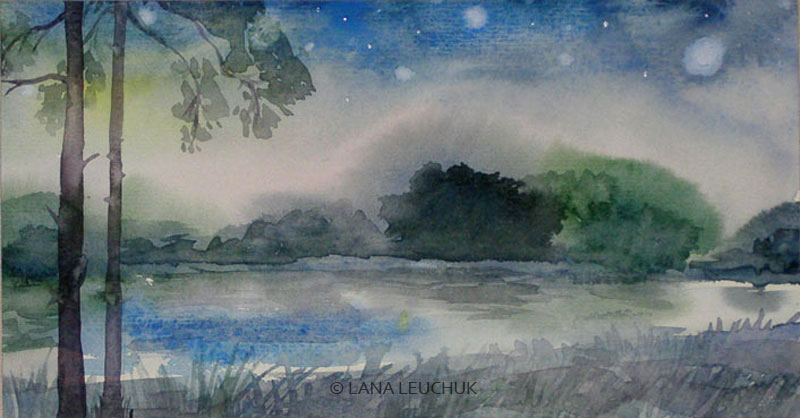 Blue-evening-art-by-Lana-Leuchuk-watercolor-painting