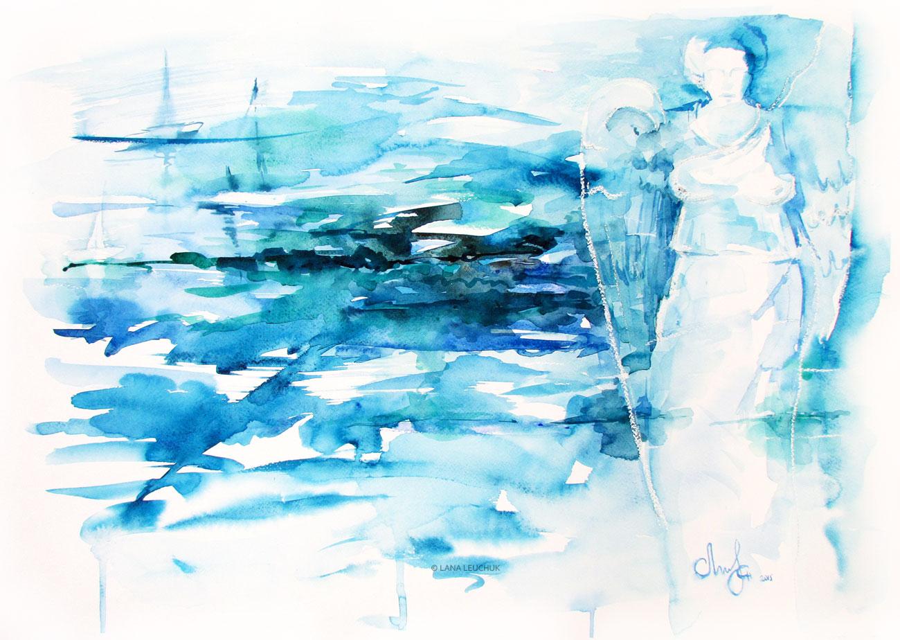 Karlskrona-marina-watercolor-painting-Lana-Leuchuk