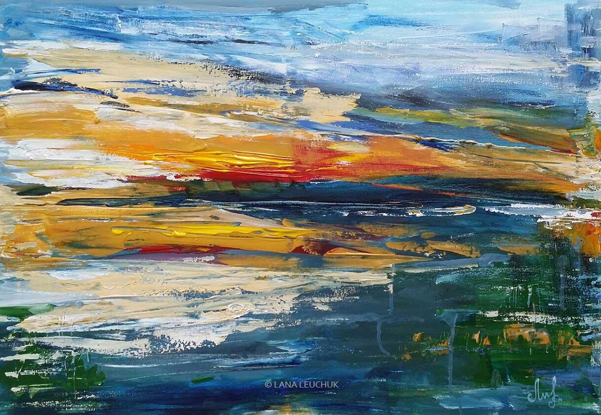 Summer-sunset-art-by-Lana-Leuchuk-acrylic-painting