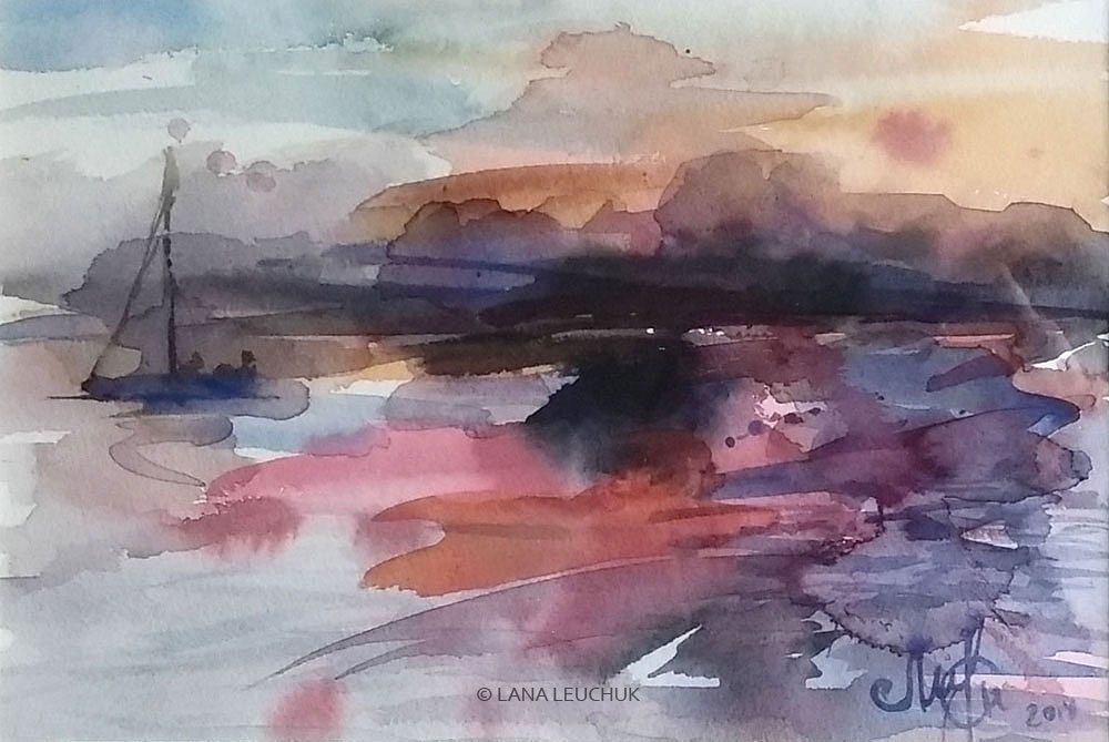 Sunset-over-Baltic-art-by-Lana-Leuchuk-watercolor-painting