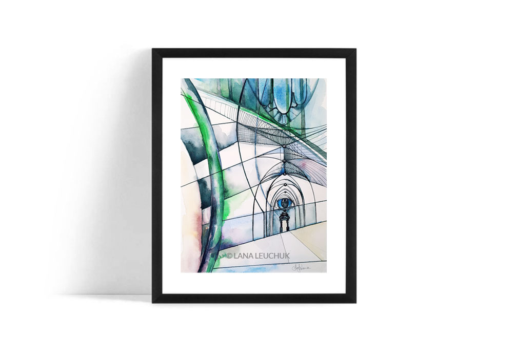 Wall-art-architecture-illustration-blue-by-Lanagraphic