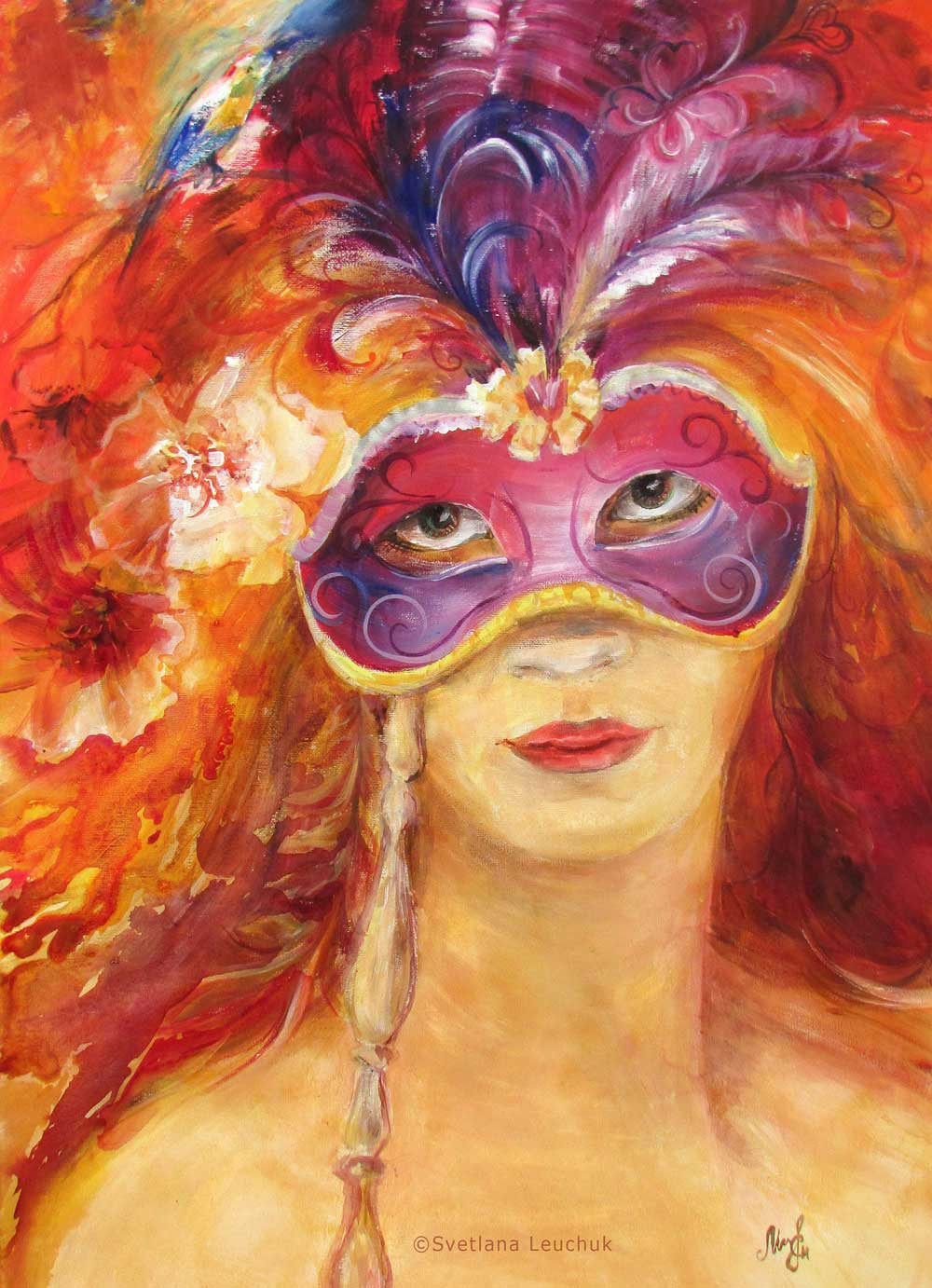 acrylic-painting-The-Girl-Behind-The-Mask-Lanagraphic