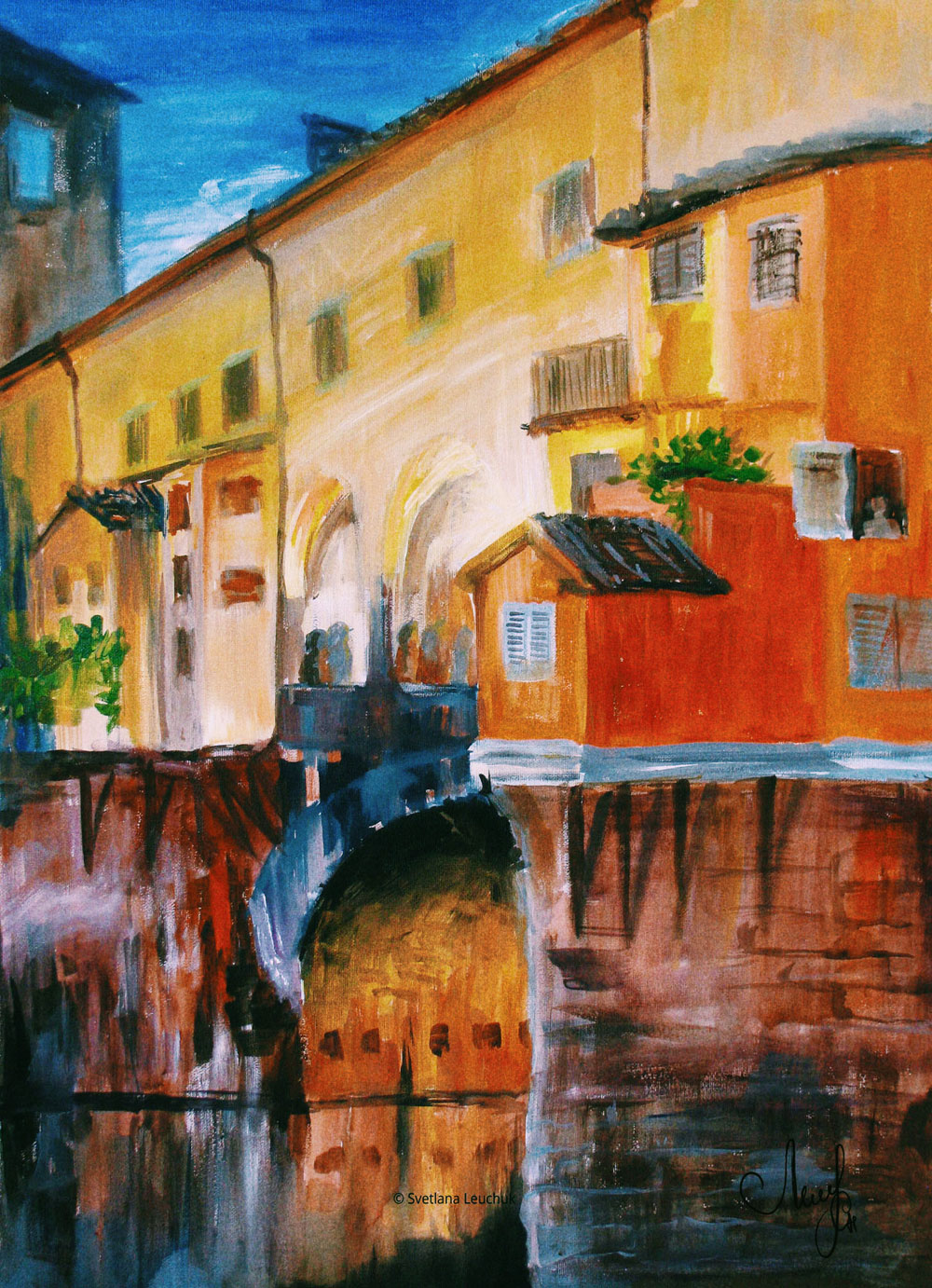acrylic-painting-by-lanagraphic-Ponte-Vecchio-Florence