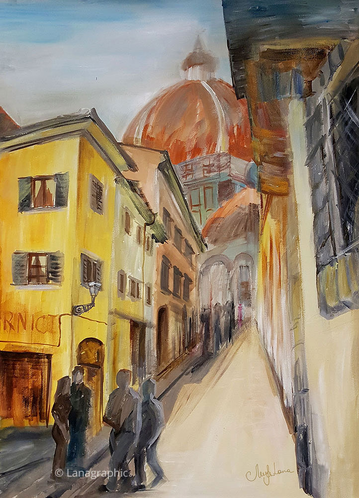 acrylic-painting-walk-in-Florence-Lanagraphic