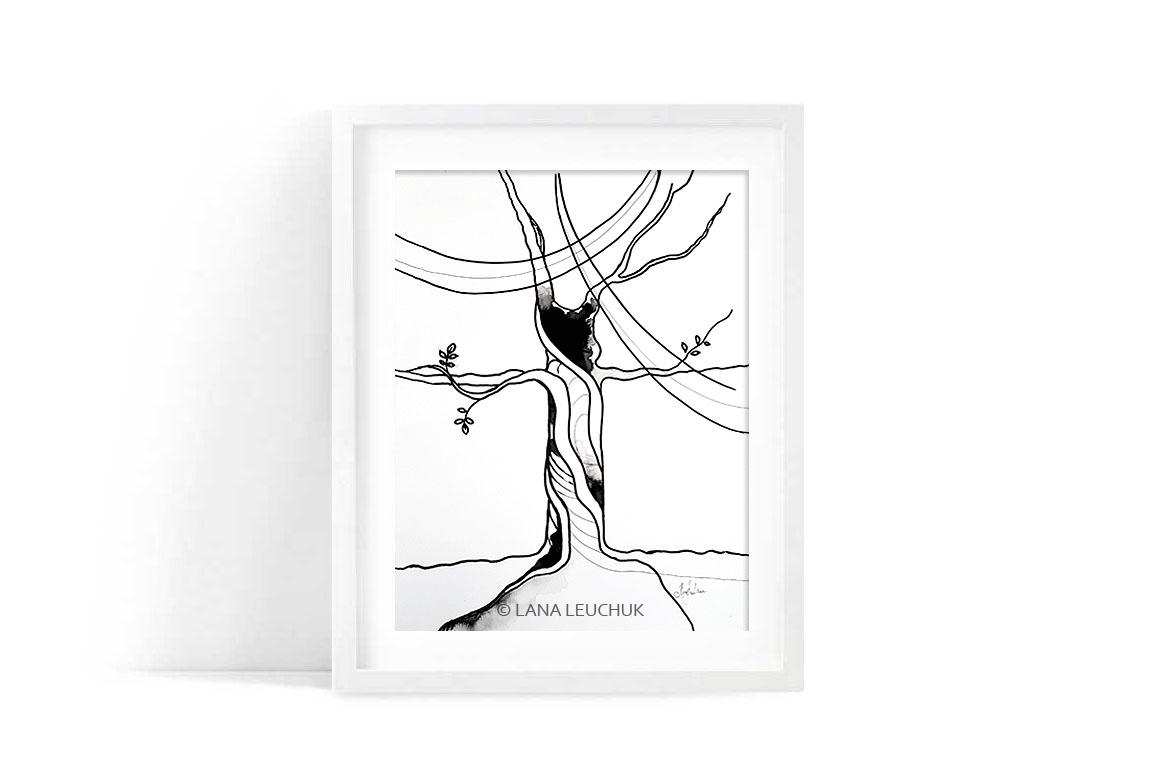 original-art-by-Lana-Leuchuk-black-drawing-ink-A-TREE-OF-LIFE