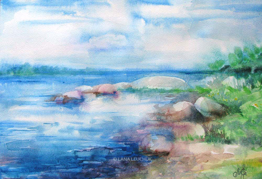 somewhere-on-the-Karlskrona-island-art-by-Lana-Leuchuk-watercolor-painting