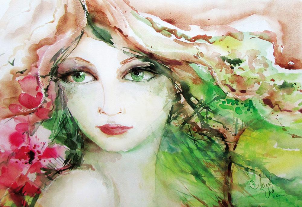 watercolor-painting-Lady-Nature-Lana-Leuchuk