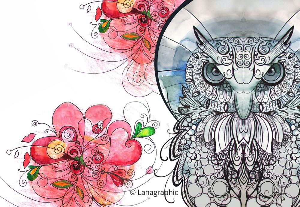 Lovely-Owl-mixed-media-Svetlana-Leuchuk-art