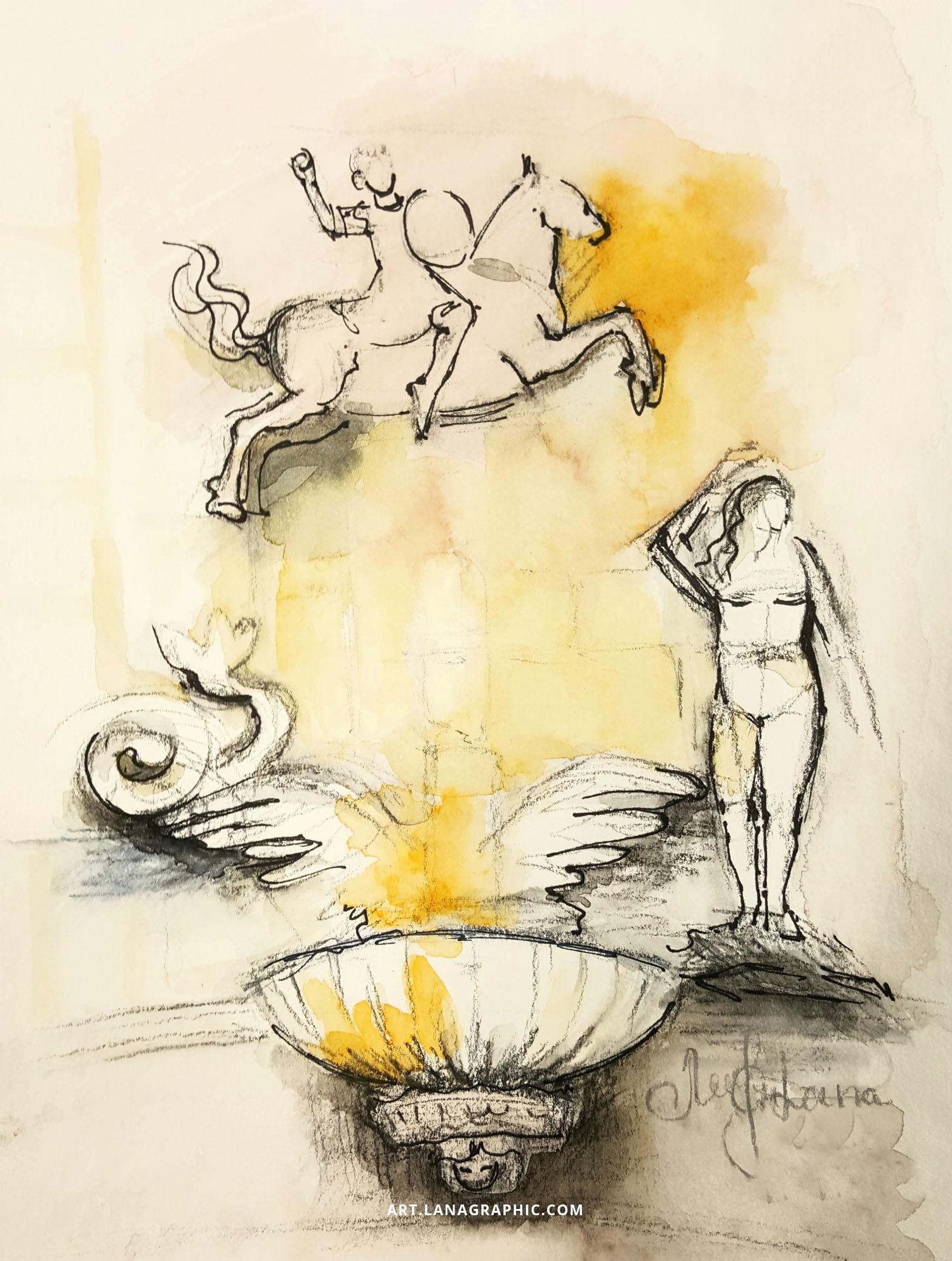 illustration by Lana Leuchuk-Autumn in Palermo