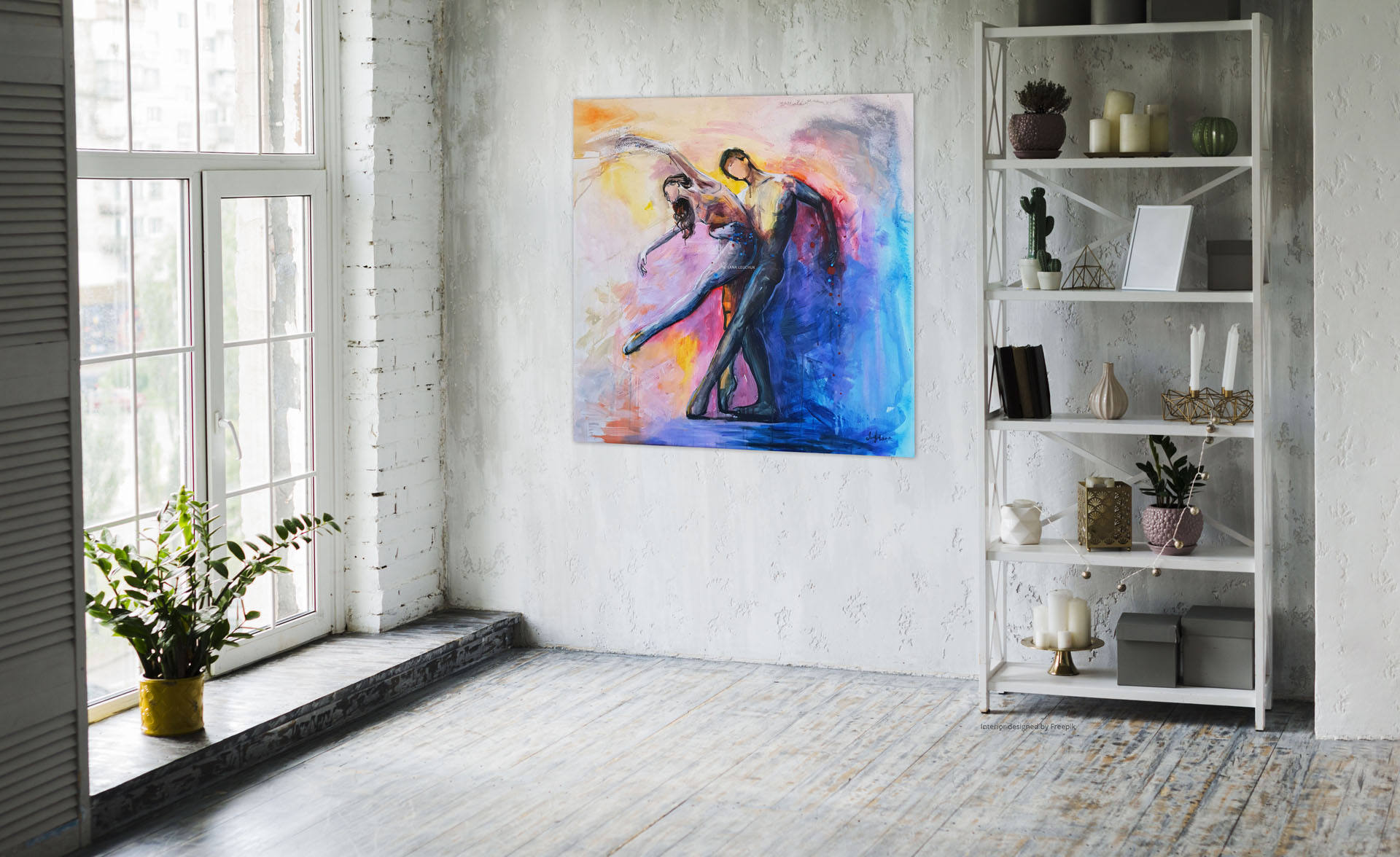 artwork-in-interior-Dancing with a stranger-by-Lana Leuchuk-sm